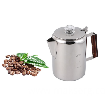 Stainless steel coffee pot with lid