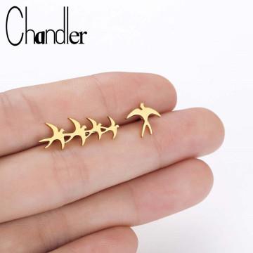 Chandler New-Fashion Asymmetry Steel Small Flock of Birds Earring Bird Ear Climber Stud Earrings Gold Color Swallow Bronics
