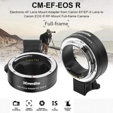 HOT-Commlite CM-EF-EOS R Lens Mount Adapter Electronic Auto Focus Mount Adapter with IS Function Aperture Control for Canon EF/E