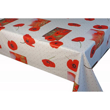Pvc Printed fitted table covers with Flannel Backing