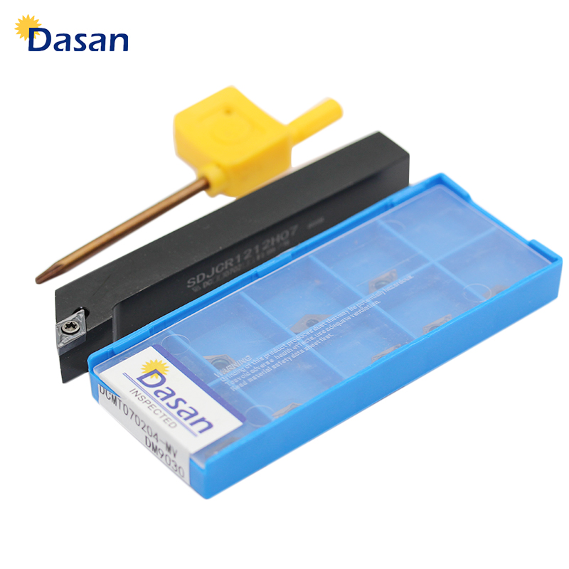 1pcs SDJCR1212 SDJCL1212H07 SDJCR1010 and DCMT070204 Carbide Inserts turning tool HSS tool bit Metal Lathe Cutting Tool Set