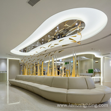 Customized  yellow crystal chandelier pendant lamp