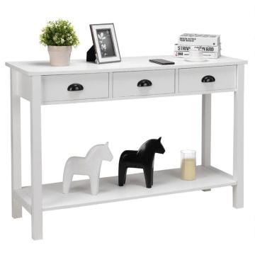 White Console Table with Shelves and Drawers