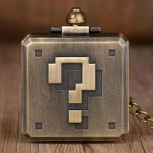 New Bronze Square Big Question Mark Design Pocket Watch Chain Game Box Shape Fob Quartz Pocket Watches For Mens Boys Gifts