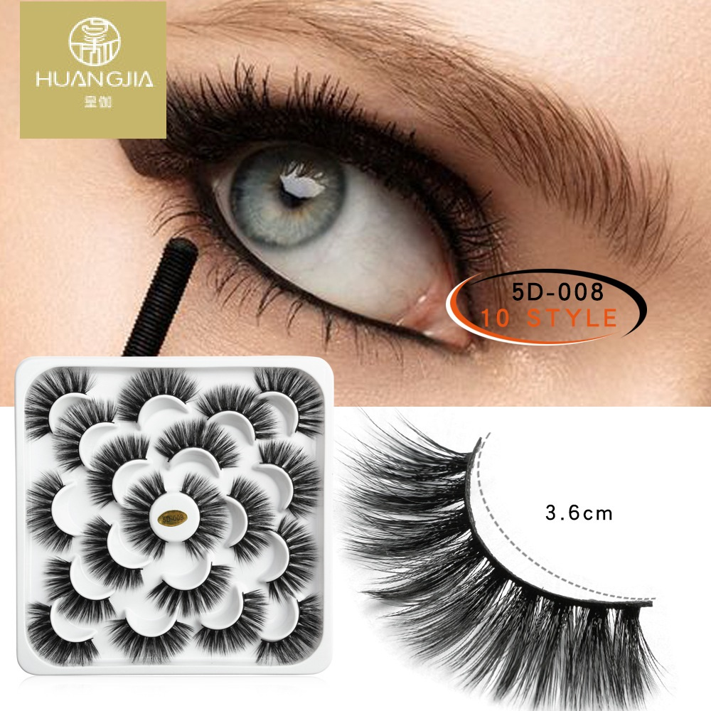 10 pairs 3D black faux mink false lashes