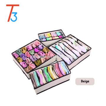 Eco-Friendly 4 Pieces/1 Set Foldable Storage Box For Bra,Towel,Underwear,Socks,Scarf,Organizer