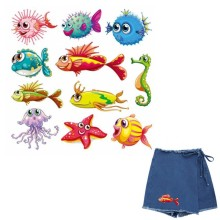 Cute Ocean Animal Fish Iron On Patches For DIY Heat Transfer Clothes T-Shirt Thermal Stickers Decoration Printing