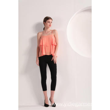 Women's Peach Color Founce Top