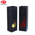 Black Paper Wine Bag with Logo and handle