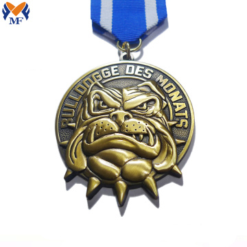 Gold color bulldog race metal medal