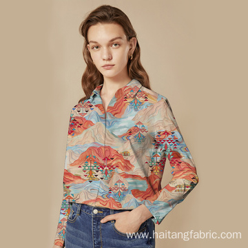 Fashionable Shirt Textile Digital Printing Fabric Retro Soft