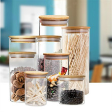 Kitchen Storage Container Glass Jars Airtight Bottle Pot Bamboo Lid Dried Fruit Candy Jar Tea Canister Food Storage Container