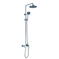 New round exposed shower system with tub faucet