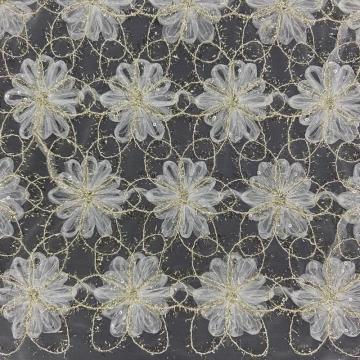 3D Discoid Flower Transparent Sequins Embroidery Fabric