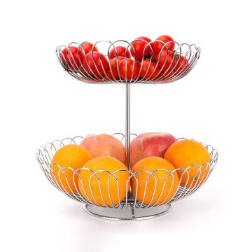 2 tiers detachable stainless steel wire fruit basket