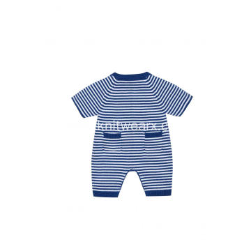 Boy's Girl's Knitted Stripe Buttoned Baby Short Romper