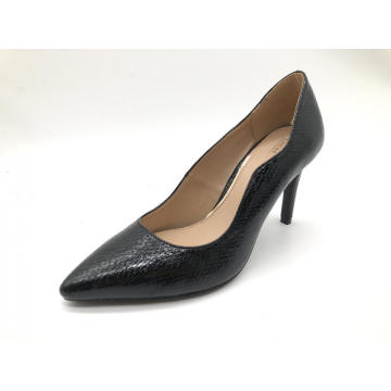 Ladies pointy toe weave edge heel pump