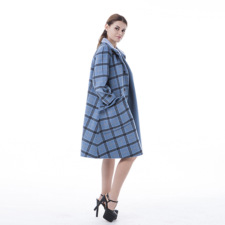 Vogue Plaid Blue Cashmere Winter Outwear