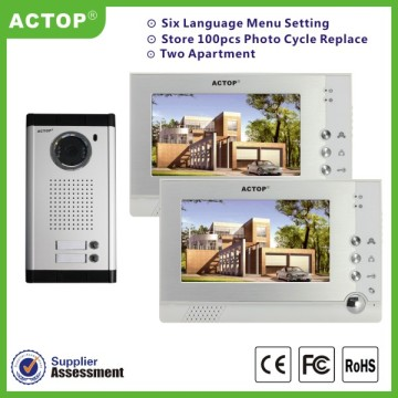 7 inch wired video intercom systems for 2 apartments