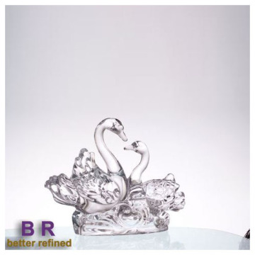 Crystal Elegant Couple Swan As Glass Decoration