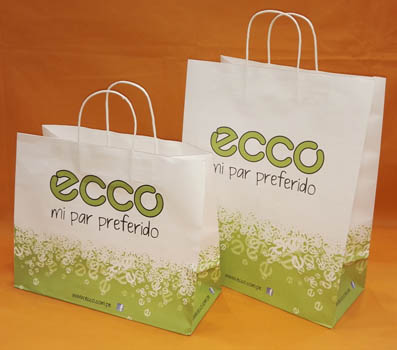 White Kraft Paper Shopping Bag-ECCO