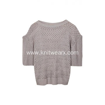 Women's Knitted Pointelle Boat Neck Drop Shoulder Pullover
