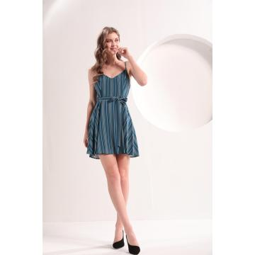 Women's Blue And White Striped Summer Dress