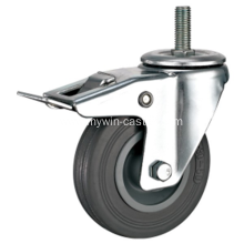 4'' Threaded Stem Swivel Gray Rubber PP Core With Bracket Industrial Caster