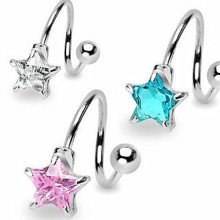 Star CZ Spiral Rings Navel Twist Barbell