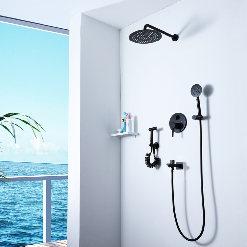 Round Black Hot Cold Shower Faucet Set