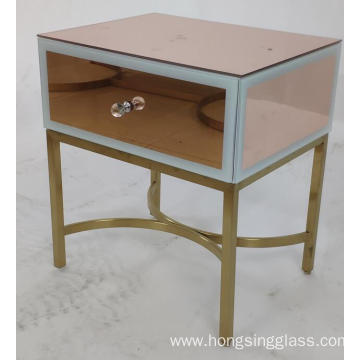 Rose Gold mirror MDF 1 Drawer Bedside