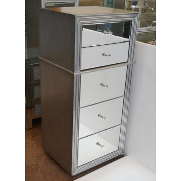 5 Drawer Mirrored MDF Antique Silver Tallboy