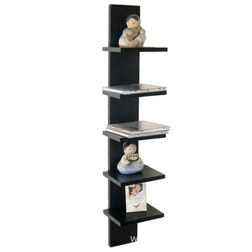 Wall Mount 5-Tier Spine Floating Decorative Shelving Set - Black