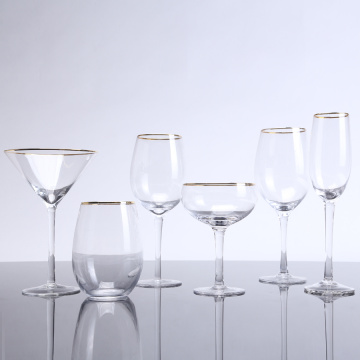 High Stem Wine Glass  With Gold Rim