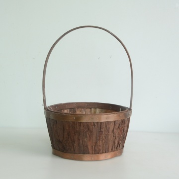 Round bark crafts hanging flower basket