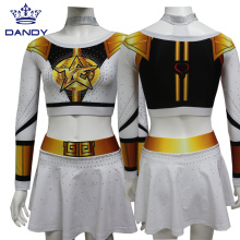 White and gold sublimated cheer uniforms