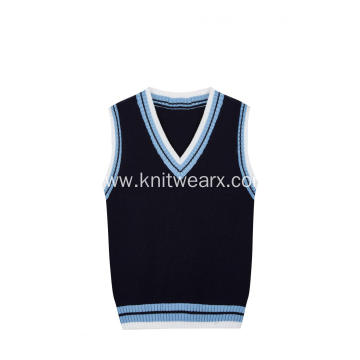 Boy's Knitted Contrast Rib School Vest
