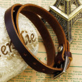 Adjustable womens men's brown leather buckle bracelet