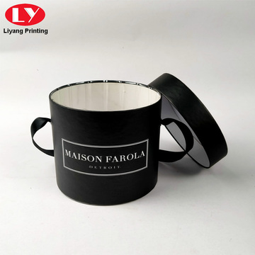 Black Cylinder Paper Round Box Package Custom Logo