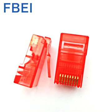 Red colo 8P8C cat5e ethernet cable connector