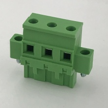 Vertical pluggable terminal block with locking screws