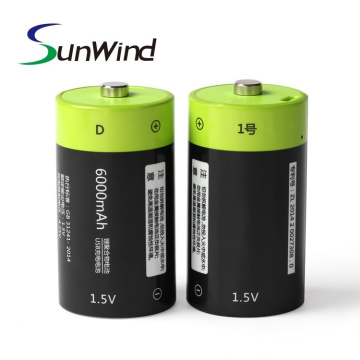 1.5V USB Rechargeable Li-ion D Size Battery 6000mah