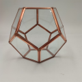 Polyhedron Glass Vase With Rose Gold Rim Decor