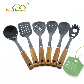 6PCS Wooden Handle Nylon Cooking Utensils Set