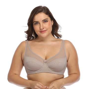 In-stock plus size full cup mesh underwire bra