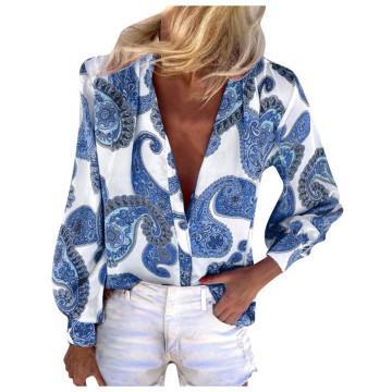 women vintage cashew nuts print casual smock chic blouse ladies retro paisley business blusas femininas shirt tops