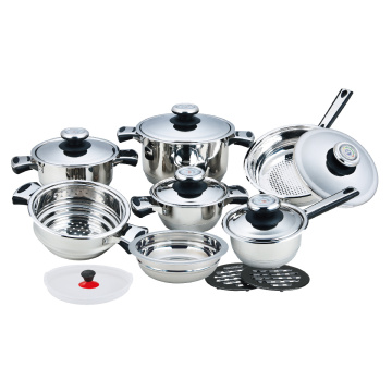 Stainless Steel Wide Edge Cookware 16 Pieces