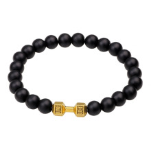 Black agate stone fit life dumbbell bracelet