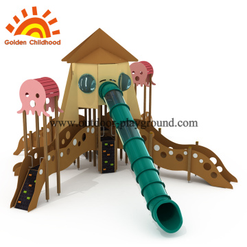 outdoor playground climbing tower rope