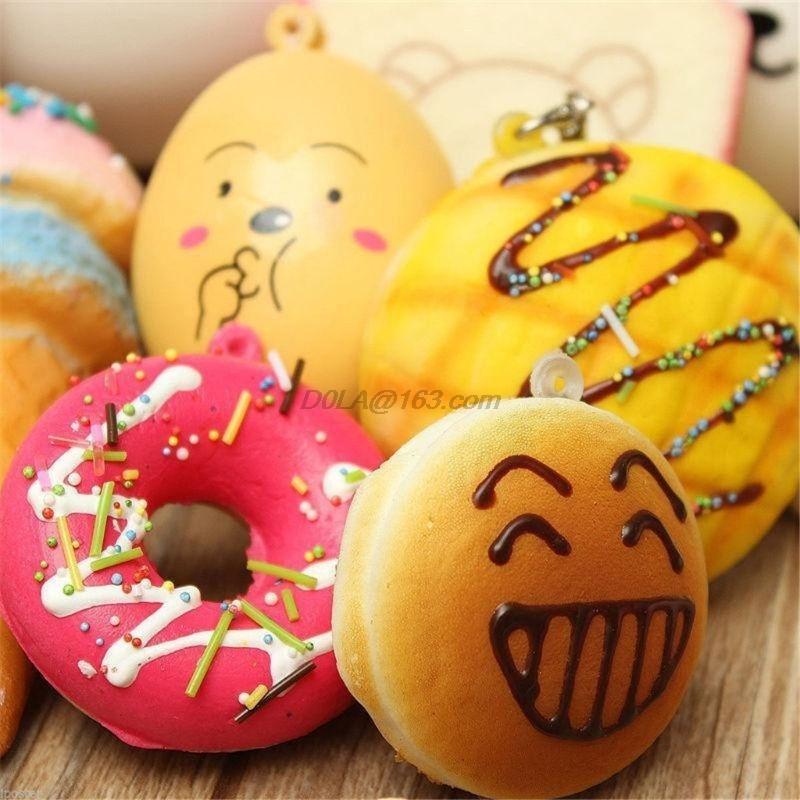 New 20Pcs Squishy Cake Panda Ice Cream Donut Keychain Slow Rising Squishy Toys Squishy Food Phone Strap